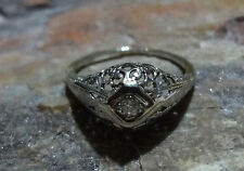 Art Deco Filigree Old Mine Cut Diamond 18k White Gold Engagement Ring Size 6.0
