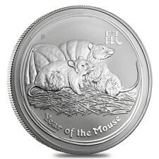 2008 1 Kilo Silver Lunar Year of The Mouse BU Australian Perth Mint In Cap
