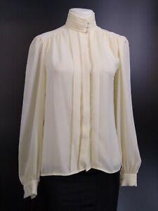 Alexandria Vintage Ivory Top Blouse High Collar Secretary Victorian Sz 4