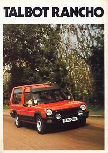Talbot Matra Rancho 1981 UK market sales brochure