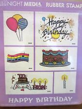 HAPPY BIRTHDAY FOAM MOUNTED RUBBER STAMP SET  -  ALL NIGHT MEDIA - NIP