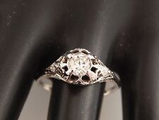 ART DECO .41 tcw Filigree Old European Cut Diamond Engagement Ring 18k WG E/VVS