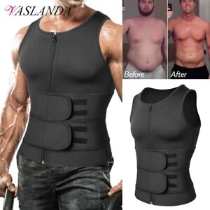 Men Sauna Tank Tops Sweat Waist Trainer Vest Neoprene Slimming Shirt Body Shaper