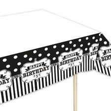 Tischdecke BLACK & WHITE, für Schwarz-Weiß-Geburtstagsfeier, 137 x 259 cm