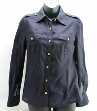 Tory Burch Blue Military Gold Button Down Shirt Shoulder Tab Roll Up Sleeve 0 XS