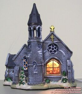 NEW LIGHTED HOUSE CHRISTMAS DISPLAY WINTER VILLAGE CHURCH IN SNOW GREY BRICK