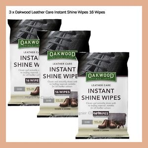 3 x Oakwood Leather Care Instant Shine Wipes 16 Wipes - Shoes Bags Accessories