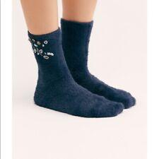 Free People Ice Princess Embellished Faux Fur Plush Crew Blue Socks New