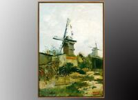 VAN GOGH Le Moulin de Blute-Fin Oil Painting Art Print 50x70cm WITH Gold FRAMED