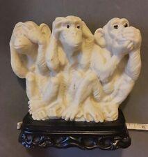 Vintage ITALY Marked AB Resin or Alabaster 3 Wise Monkeys See Hear Speak No Evil