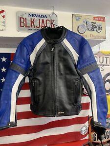 Mens AKITO Leather Motorcycle Jacket Size 40 EU 50 Sports Bike Racing Suzuki