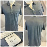 Billy Reid Polo Shirt M Men Blue 100% Cotton Pocket Made in Peru Mint YGI I9-74