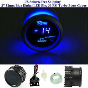 """US 2"""" 52mm Blue Digital LED Elec 30 PSI Turbo Boost Gauge Boat Car AUTO 0~15V"""
