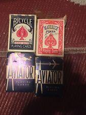 4 Vintage Playing Cards~Bicycle- Aviator- Maverick