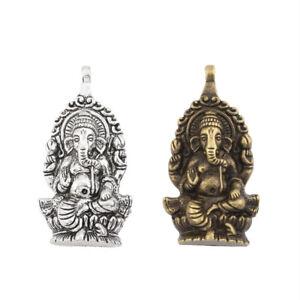 2Pcs Antique Silver/Bronze Ganesha Elephant God of Beginnings Charms Pendants