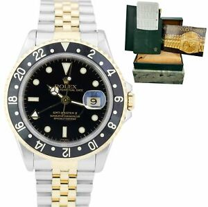 Rolex GMT-Master II 18K Two-Tone Gold Steel Black 40mm Jubilee Watch 16713 LN