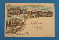 Haut Rhin 68 Alsace Elsass Litho AK CPA Gruss a Mülhausen Mulhouse 1899 Caserne