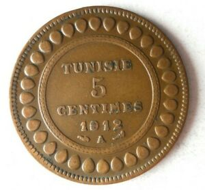 1912 TUNISIA 5 CENTIMES - AU - HIGH GRADE Coin - Lot #S14