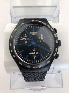 "Swatch: Irony-Chrono ""Blue Reptile "" (YCB4016AG) Black New. MRSP $ 175"