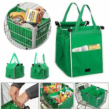 Foldable Shopping Tote Bag Grocery Grab Bag Fabric Carrier Clip-To-Cart Trolley
