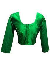 indio CONFECCIONADO costuras seda natural Verde Sari Blusa top corto Choli