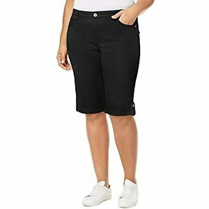 MSRP $57 Style & Co. Womens Plus Mid-Rise Slim Fit Skimmers Black Size 24W