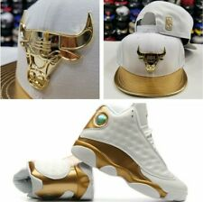 Matching New Era Chicago Bulls Gold Metal  Snapback Hat Jordan 13 DMP White Gold