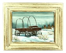 Original Oil Painting Abandoned Settler's Wagon Winter Teepees Old West Folk Art