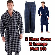 Mens Checked Soft Fleece Dressing Robe With Matching Pants Set Sizes Small - 2xl Blue / Black Check Mn000152 S