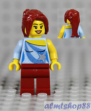 LEGO - Girl Kids Minifigure w/ Blue Sequin Star Top & Dark Red Ponytail Hair