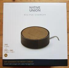 NATIVE UNION ECLIPSE CHARGER Chargeur Rapide à 3 Ports USB (noir/bois)