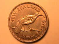 1939 New Zealand 6 Pence Ch XF+/AU Lustrous Sixpence British Empire Silver Coin