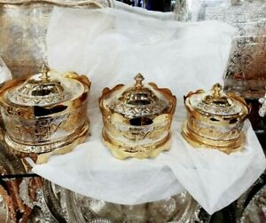 Set Of 3 Moroccan Candy Bowls With Lid 100% Handmade Silver Plated *NEW*