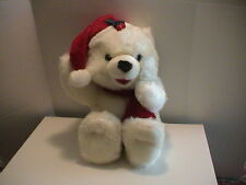HUGE WHITE CHRISTMAS XMAS BEAR W/ HAT & SCARF STUFFED TOY ANIMAL CUTE EXCELLENT