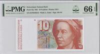 SWITZERLAND 10 FRANCS 1991 P 53 j 15TH GEM UNC PMG 66 EPQ