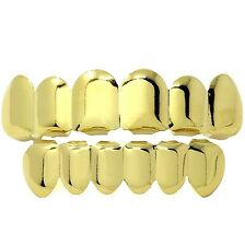 18K Gold Plated Cluster Custom Slugs Top Bottom GRILLZ Mouth Teeth Grills Set