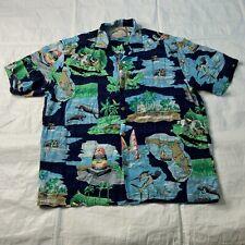 PARADISE FOUND Men Hawaiian Shirt 100% Rayon Blue Green Size Medium R-10