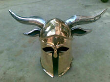 Brass Medieval Viking Barbarian Corinthian Helmet steel horns for cosplays`ylo