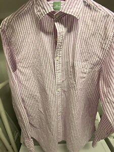 Sid Mashburn Purple Stripe Cotton Shirt Large