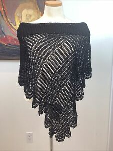 St. John Black Beaded Poncho - Once Size Fits Most