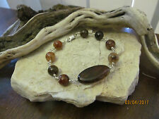 Unique Sterling Silver 925 Natural Spiderweb Agate Wire wrapped Link Bracelet