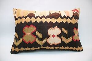 Kilim Boho Pillow, 16x24 inc, Vintage Sofa Pillow, Handmade Decorative Pillow