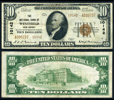 Westfield NJ $10 1929 T-2 National Bank Note Ch #10142 National Bank VF