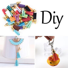 Wholesale 30Pcs Suede Leather Tassel Pendant Charms DIY Keychain Jewelry Finding
