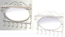 "MIRRORED WHITE IRON WALL SHELF w/ 7 COAT OR TOWEL HOOKS *20.2"" x 6"" x 17.5""* NIB"