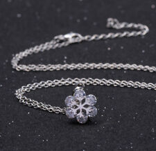 Damen Halskette Schmuck Collier mit Diamant Anhänger Silber Weihnachten Geschenk