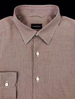 Ermenegildo Zegna Mens Crimson Red Houndstooth Slim Fit Button Front Shirt Sz M