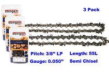 "16 Inch 3/8"" LP Pitch 0.050'' Gauge Semi Chisel Chainsaw Chain 55 Links (3PCS)"