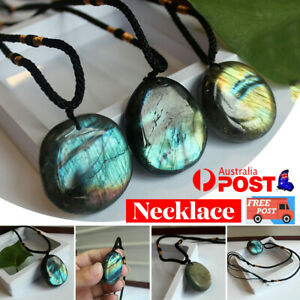 Labradorite Pendant Necklace Healing Moonstone Handmade Chain For Reiki