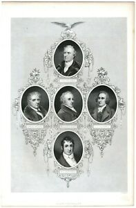 Antique Engraving~ PORTRAITS OF JOHN TRUMBULL, DANIEL BOONE, BEN. RUSH, PINKNEY